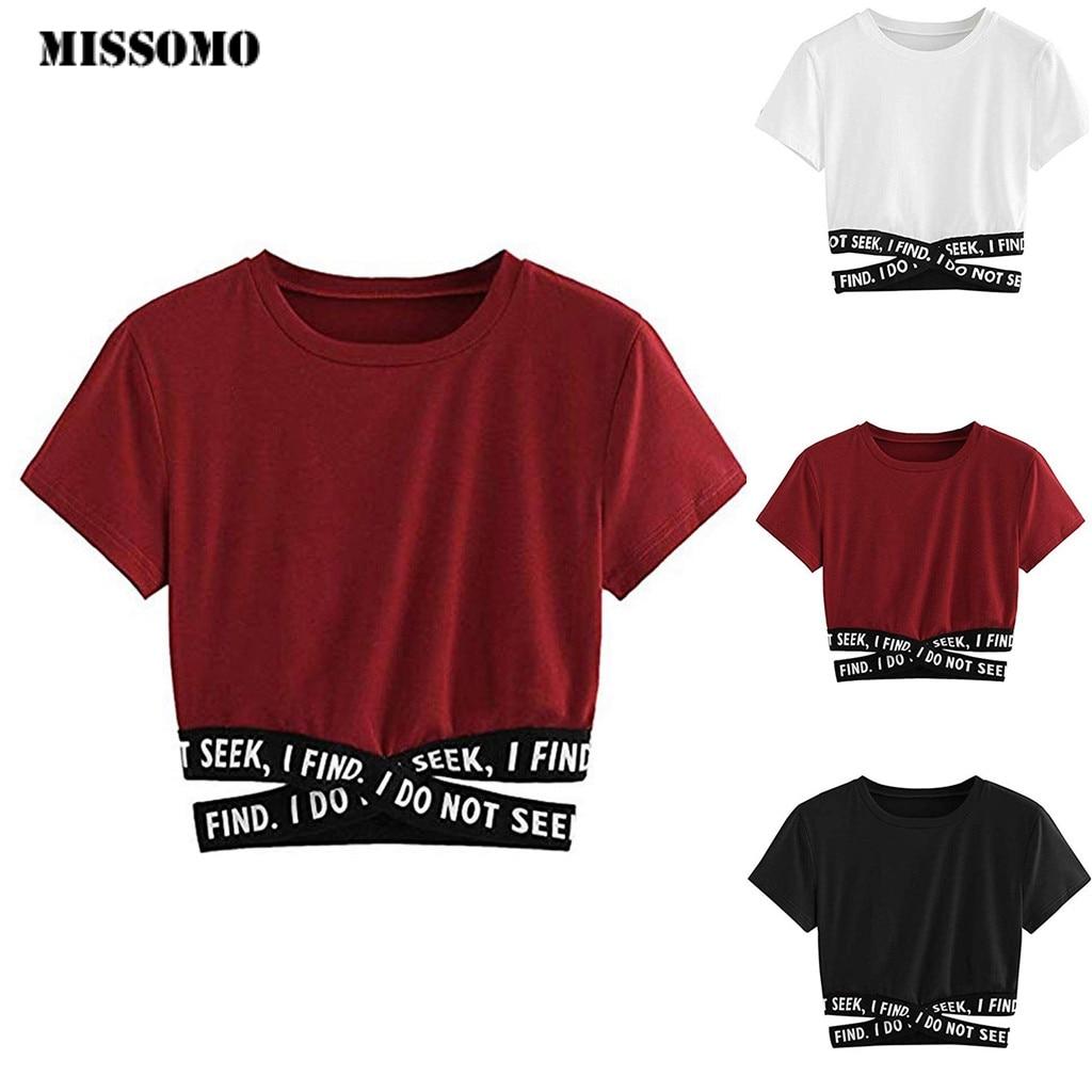 MISSOMO T Shirt Women Lady Harajuku Soild Latter Cross Bandage Shirt Sexy Tops T-Shirt Streetwear Tee Shirt Femme