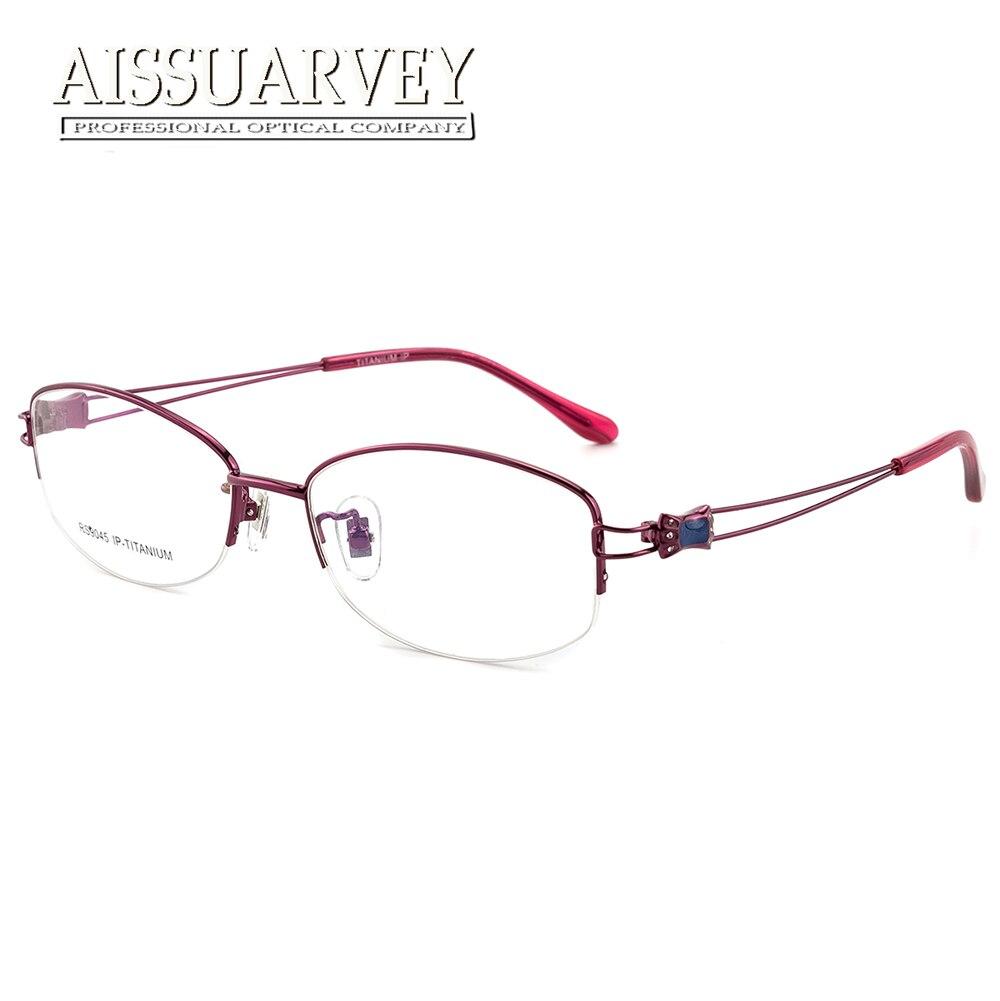 968ec51b9f Titanium Optical Eyeglasses Frame Brand Designer Top Quality Eyewear Women  Fashion Rhinestone Round Half Rim Classic Elegant New-in Eyewear Frames  from ...