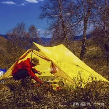 3F UL LanShan 2 Green Ultralight Tent 3 Season Professional 15D Silnylon Rodless Tent 3