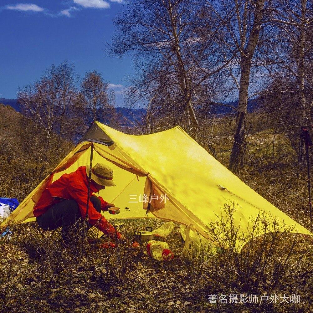 2018 LanShan 2 3F UL GEAR 2 Persona al aire libre ultraligero de la tienda de Camping 3 temporada profesional 15D Silnylon sin vástago Tienda 4 temporada - 4