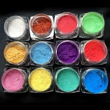 12pcs/set Beauty Nail Polish Powder Rhinestones Discoloration Silver Magic Mirror Glitter Dust UV Gel