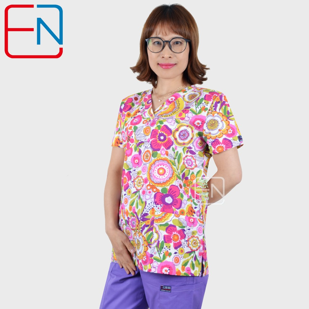 Hennar Women Medical Scrub Top V-Neck 100% Cotton Print Hospital Medical Uniforms Clinical Surgical Women's Scrubs Tops