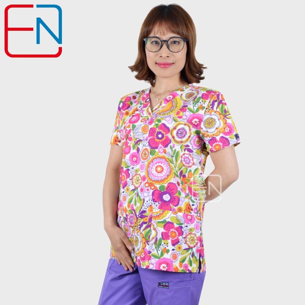Hennar Women Medical Scrub Top V-Neck 100% Cotton Print Hospital Medical Uniforms Clinical Surgical Women's Scrubs Tops