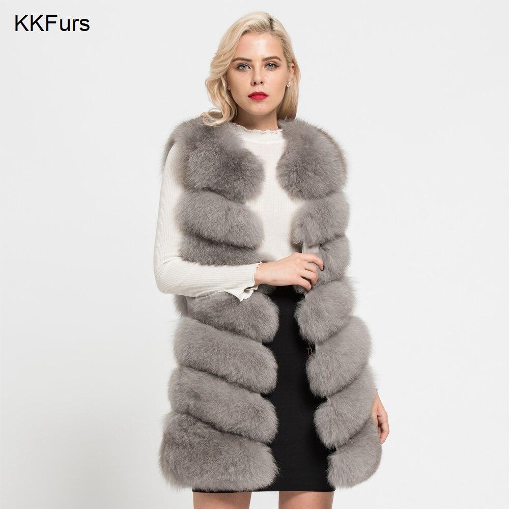 JKKFURS 2018 Nouveau Réel de Fourrure De Renard Gilet Femmes De Mode Gilet Manteau D'hiver 7 Rangées Chaud Épais Gilet En Gros S7161