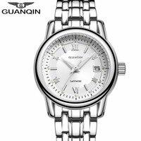 מקורי GUANQIN מותג ילדה שעונים 2017 שעון קוורץ האופנה שעון עמיד למים יוקרה ספיר שעון עור גבירותיי שעוני יד