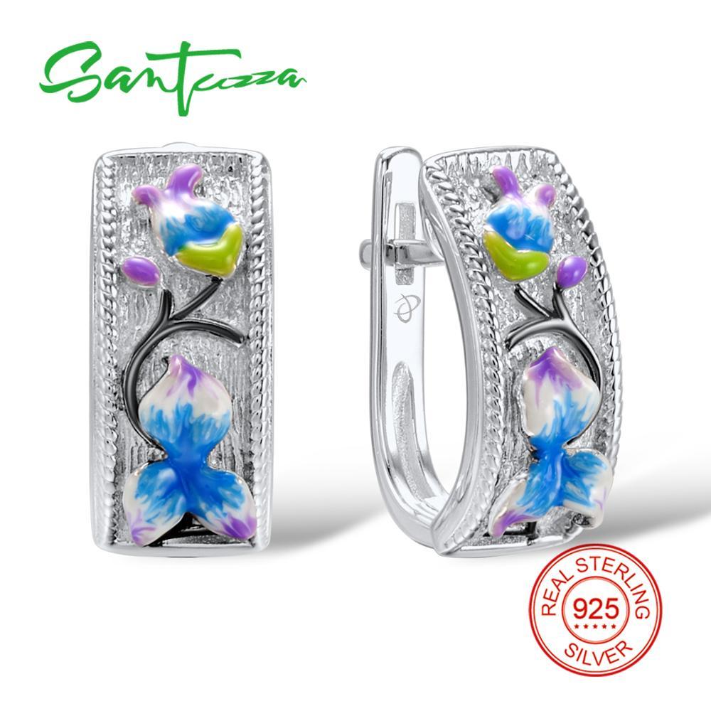 Silver Earrings for Women Colourful Enamel 925 Sterling Silver Women Earrings Fashion Jewelry HANDMADE