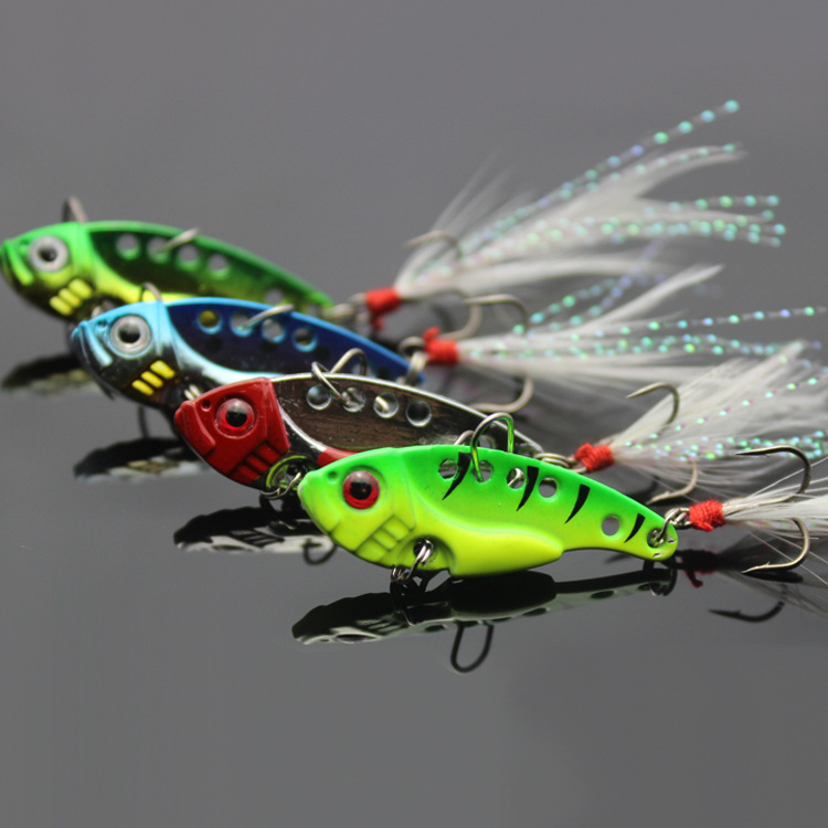 <font><b>New</b></font> Arrival Metal Fishing Lure <font><b>VIB</b></font> Hard Baits Spoon with <font><b>Feather</b></font> <font><b>Hooks</b></font> 4PCS 12G
