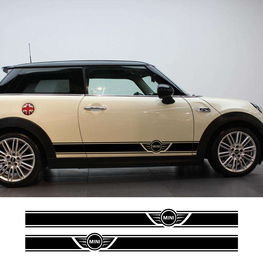 1Pair Car Side Door Body Waist Skirt Decal Sticker Trim For MINI Cooper Clubman Counrtyman F54 F55 F60 R55 R56 R60 Accessories