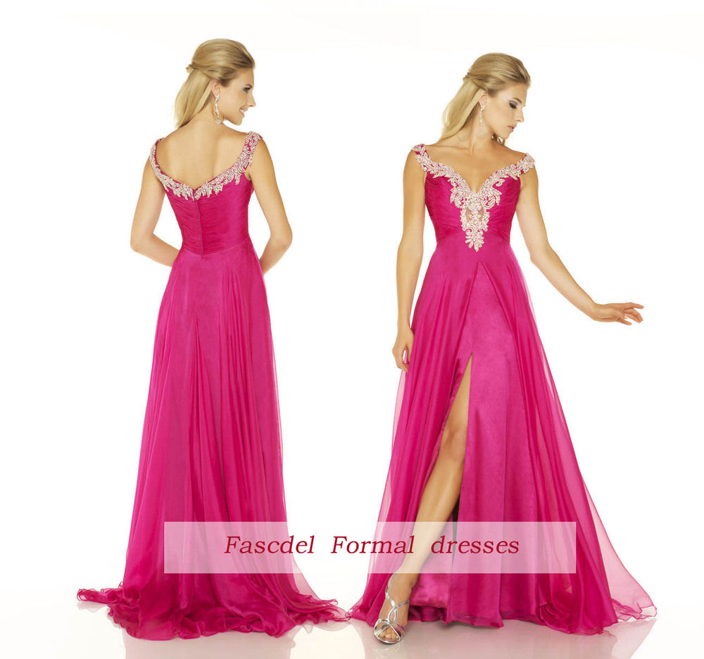 free shipping 2018 New sexy v-neck lace Formal Prom Party Pageant peach maxi long Bridal gown Graduation   bridesmaid     dresses