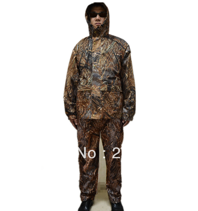 Withered Grass Bionic Camoufalge Hunting Jacket&Pants Waterproof Dry grass Camo Hunting Sets Clothes drawstring spliced camo jogger pants