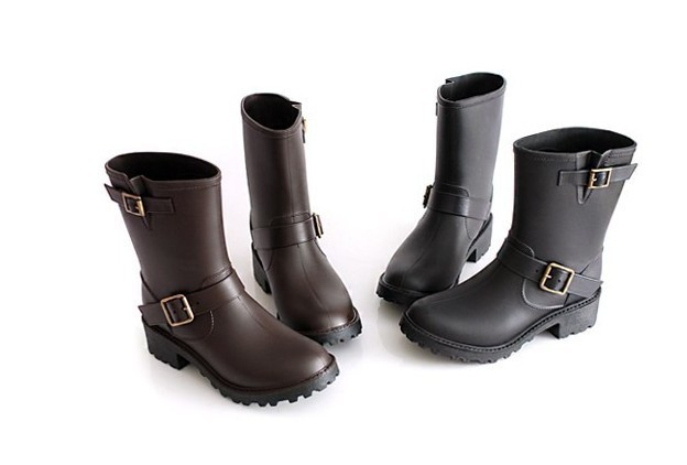 Short Engineer boots Lace Up Pvc Rain Boots For Women ,Motorcycle ...