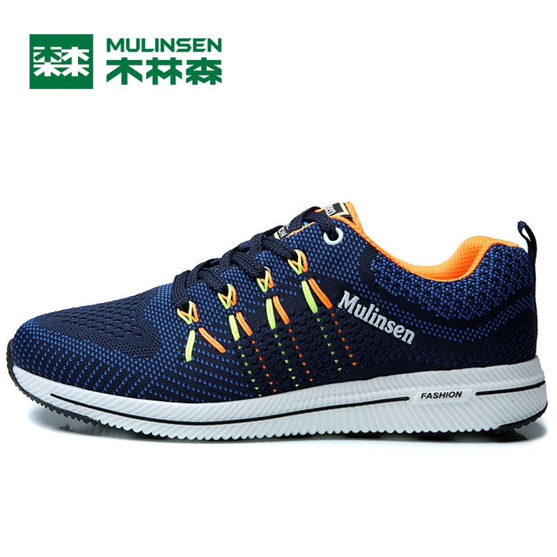 Mulinsen Men's Running Shoes Blue black red gray Outdoor Running Sport Shoes Breathable Non-slip Sport Sneakers 270233 kelme 2016 new children sport running shoes football boots synthetic leather broken nail kids skid wearable shoes breathable 49