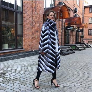 Tatyana Furclub nowy prawdziwe płaszcz z futra królika grube ciepła moda kurtka z futra dla kobiet zimowe ubrania długie naturalne królik futro odzież wierzchnia tanie i dobre opinie Grube ciepłe futro Prawdziwe futro TF-new023 REGULAR Pełna pelt WOMEN MANDARIN COLLAR Przycisk zadaszone Stałe High Street