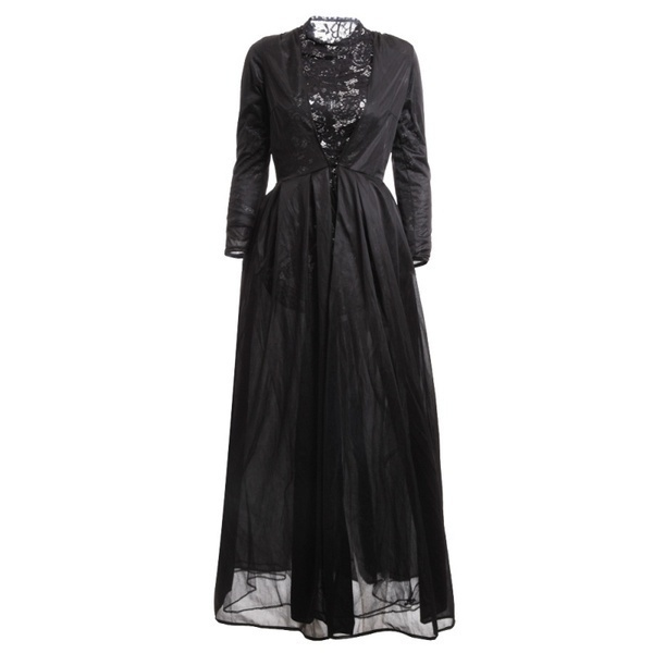 2017 New High Quality Sexy Gothic Lace High Waist Sheer Jacket Long Dress Gown Party Costume Lady Autumn Dress Black 1