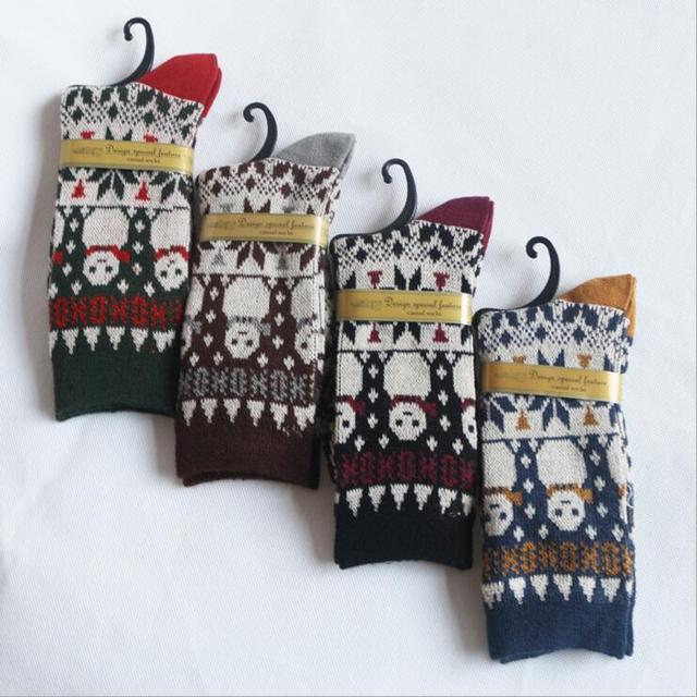 Ladies Cartoon Socks Vintage Double Needle Knit Socks For Women