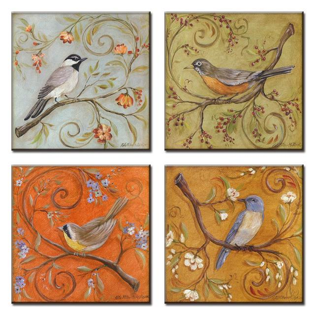 4 Pcs Set Traditional Chinese Modern Wall Paintings Chinoiserie Flowers And Birds Oil Painting On Canvas Art Picture