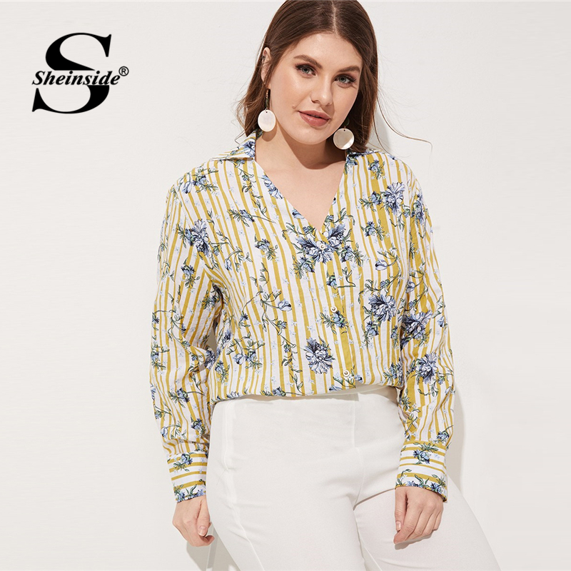 Sheinside Plus Size Elegant Floral Print Blouse Women 2019 Spring V Neck Stripe Print Blouses Ladies Casual Colorblock Top