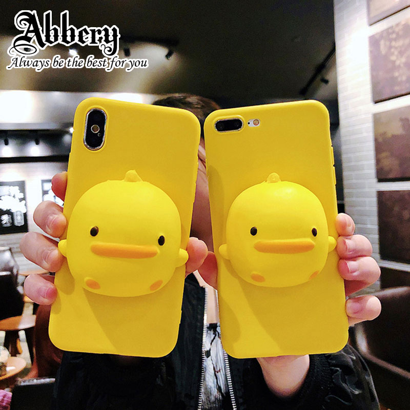Abbery Super Cute Squishy Duck Soft Phone Case for iPhone 6 6s 7 8 Plus X for Samsung Galaxy S6 S7Edge S8 S9 Note8 A5 2017 Cover