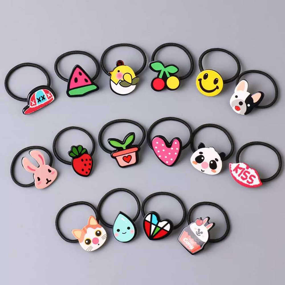 Acrylic Animal Rabbit Hairband Kids Heart Pattern Hair Accessories Girls Gift Mini Elastic Hair Rope Scrunchie Hair Styling Tool