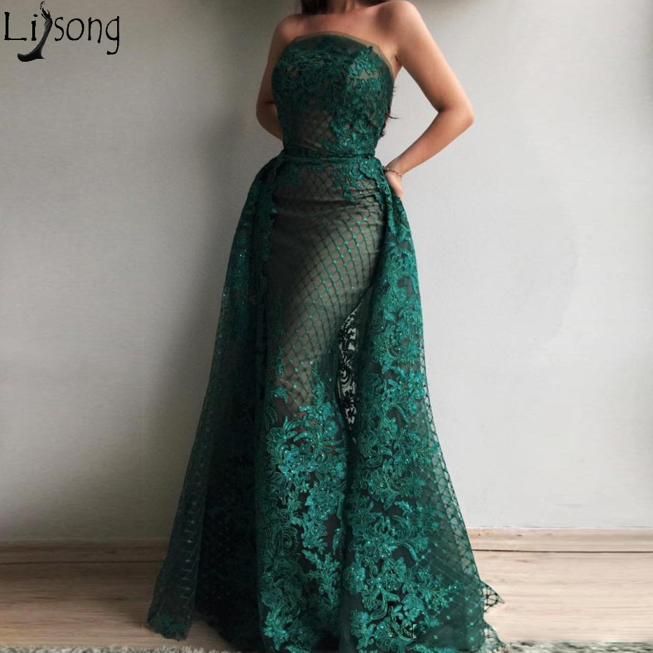 Dark Green Mermaid   Prom     Dresses   Off the Shoulder Overskirt Appliques Elegant Long Evening Wear Party Gowns with Detachable Train