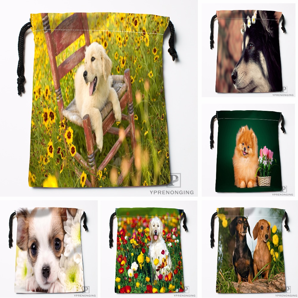 Custom Puppy With White Flowers Drawstring Bags Printing Travel Storage Mini Pouch Swim Hiking Toy Bag Size 18x22cm#180412-11-96