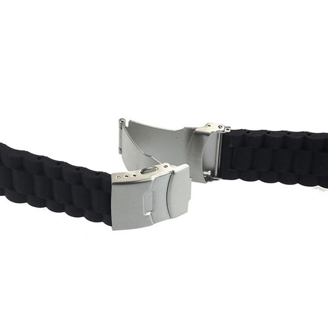 Black Silicone Rubber Watch Strap Band Deployment Buckle Waterproof 20mm/22mm