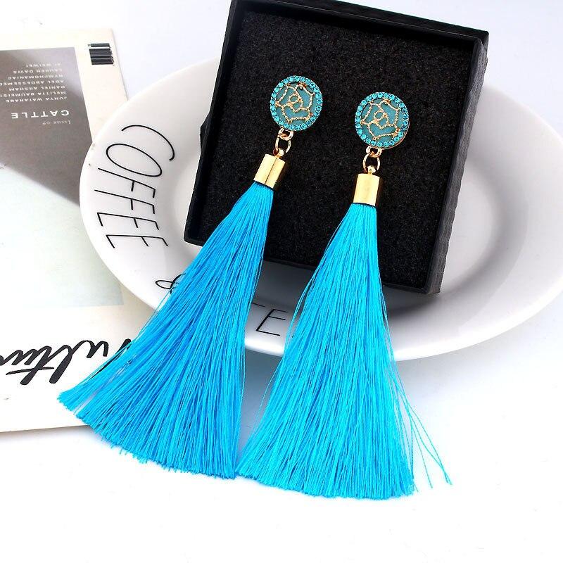 Bohemian Long Tassel Earrings For Women 2019 New Charm Elegant Crystal Flower Fringe Dangle Earings Fashion Jewelry Pendientes in Drop Earrings from Jewelry Accessories