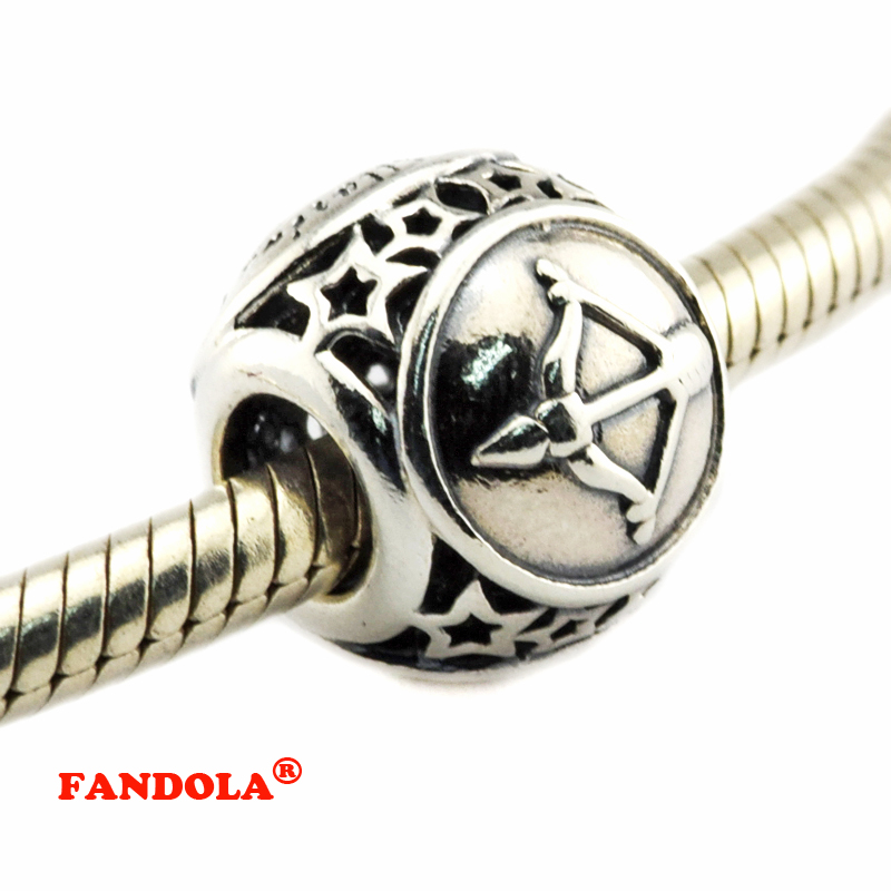 DIY Fits for Pandora Bracelets Sagittarius Star Sign Beads 100% 925 Sterling Silver Jewelry Charms for Women Free Shipping