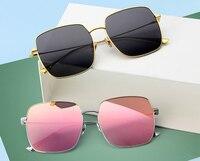 Fashion Women Luxury Brand Optical Polarized Sun Glasses Frame Square Metal High Quality Big Square Eyeglasses