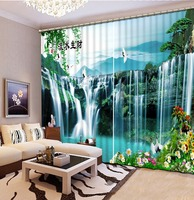 Christmas Decorations For Home Mountain Waterfall Scenery 3d Curtains For Living Room Window Eyelets For Curtains