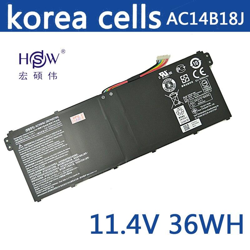 A HSW Novo 11.4 v wh Bateria Do Portátil para Acer Aspire E3-111 36 V3-111 V3-111P V5-122 KT0030G AC14B18J 4ICP5/57 /80 bateria
