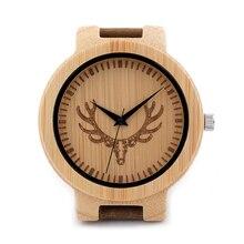 BOBOBIRD Марка Дизайн D15 Выгравированы Олень Голову Древесины Бамбука Смотреть Подлинной Натуральной Кожи Любителей Роскоши Настройки Часы