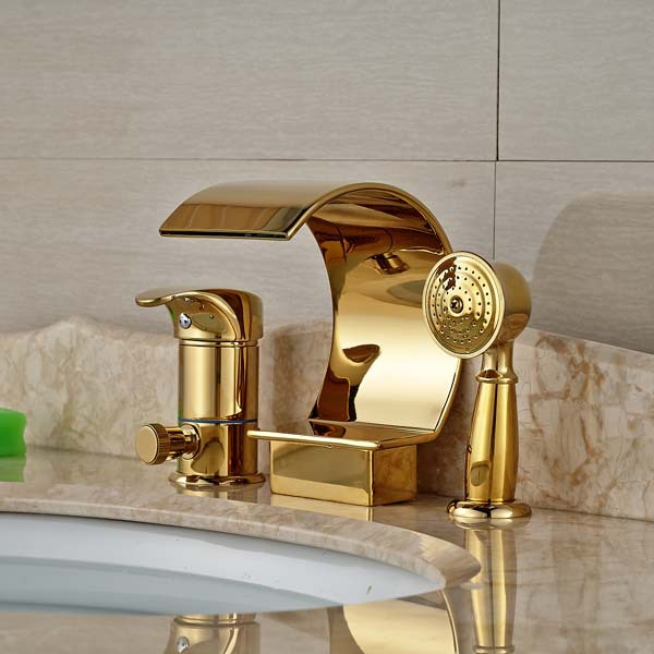 Luxury Golden Brass Waterfall Bathroom Tub Faucet Diverter ...