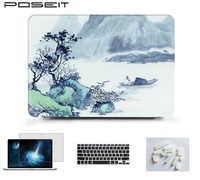 Pintura a óleo de tinta estilo portátil capa dura caso escudo teclado capa da pele para macbook ar 11 13 pro retina12 13 15 polegada barra toque