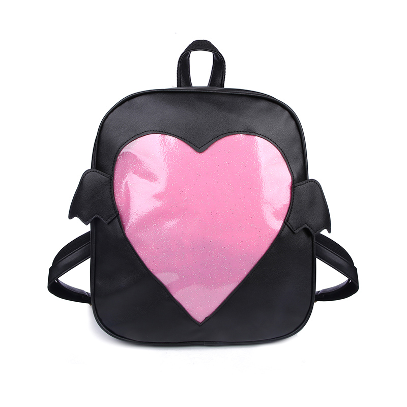 Transpa Lovely Heart Backpacks For Ager S Mini Wings School Bags Kawaii Leather Rucksack White Wing Backpack Xa150wb In From
