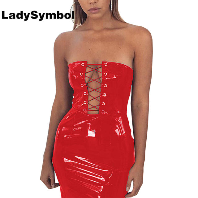 Ladysymbol Off Shoulder Lace Up Pu Red Dress Women Slim Casual Dress