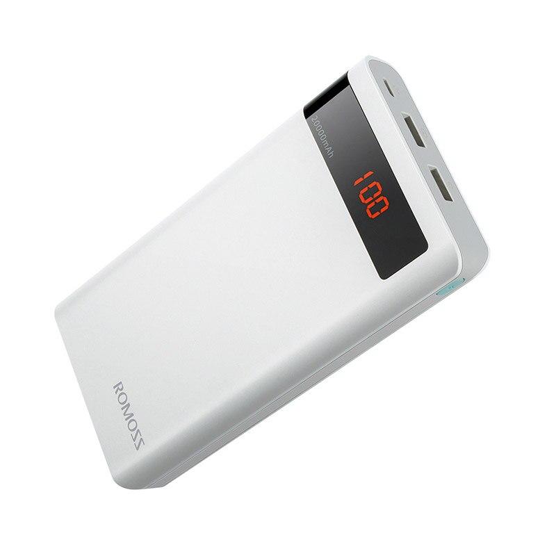 20000 мАч ROMOSS Sense 6P внешний аккумулятор, двойной USB портативный внешний аккумулятор, светодиодный дисплей, быстрое портативное зарядное устройство для телефонов и планшетов - Цвет: White