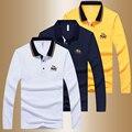 2016 Nueva Llegada de La Manera Marca Polo Shirts hombres de Manga Larga primavera Otoño Delgada Camisa de Algodón Ocasional T-shirts Hombres M ~ 4XL TS001