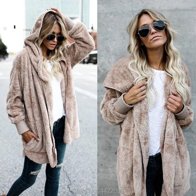 8954358b0cd Autumn Winter Women Slim Fit Faux Fur Coat Hoodie Long Sleeve Thickened  Loose Fur Cardigan Warm Jacket Outwear