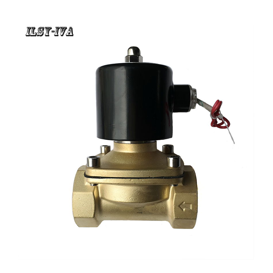 """G2""""DN50 DC24V two way brass Normally closed solenoid valve"""