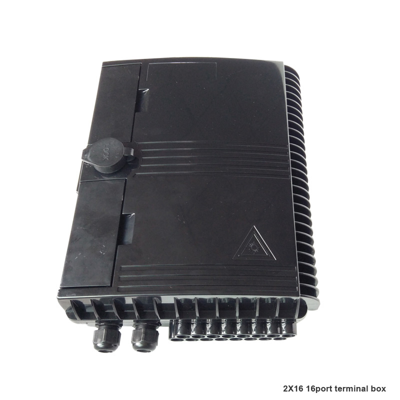 Image 2 - 16 Core Fiber Optic Termination Box 16 port optical fiber distribution box 2X16 Core FTTX Fiber Optic Box Splitter Box Black-in Fiber Optic Equipments from Cellphones & Telecommunications