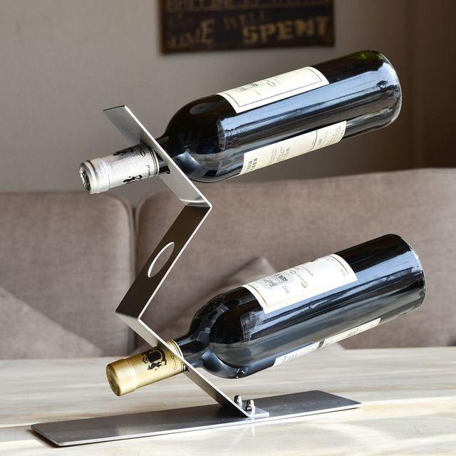 Creative Stainless Steel Bending Wine Holder Decorative Metal Curving Bottle  Support Barware Supplies Ornament Craft Accessories Nice Look