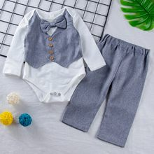 Newborn Baby Boy Gentleman Outfits Bow Tie Long Sleeve Bowknot 2019 Spring Autumn Tops Romper Pants Formal Suit Costume(China)