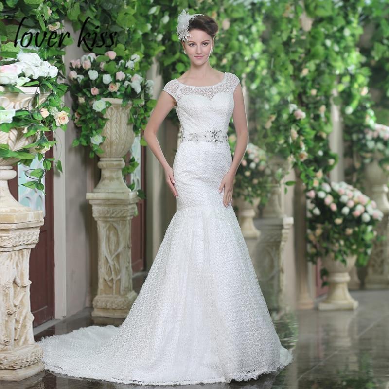 Lover Kiss Vestido De Noiva 2019 Mermaid Illusion Lace