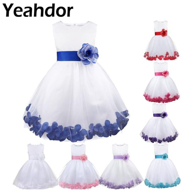 Vestido infantil de pétalos de flores para niña, concurso de belleza boda de novias, tul, vestido Formal de fiesta, vestido de flores para niña, vestido de princesa para niña