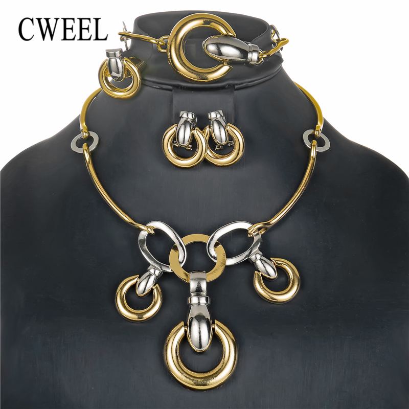 CWEEL Jewelry Sets Gold Color Costume Nigerian Wedding African Beads Jewelry Set For Women Vintage Turkish Jewelry цена