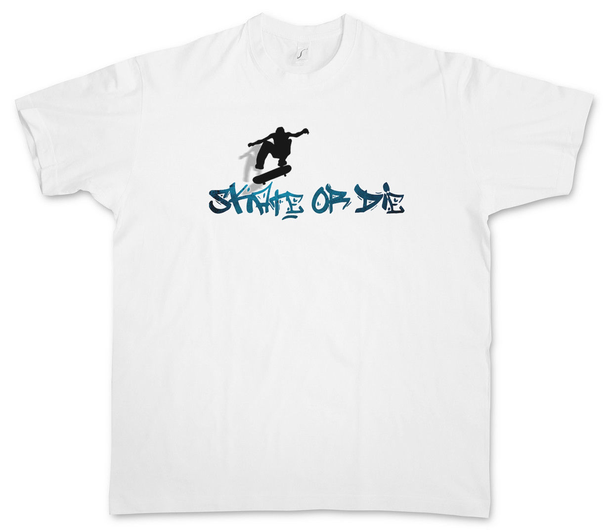 Printed Tee Shirts Short Sleeve SKATE OR DIE T-SHIRT - Skateboard Skater Kickflip Halfpipe SK8 Bones Acid Game