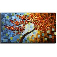 Handpainted Contemporary Art Oil Painting On Canvas 3D Red Tree Paintings Modern Home Decor Wall Art