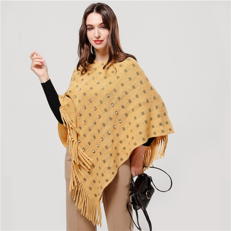 2019 new winter women scarf cashmere lady poncho and caps thick warm coat Elastic knit pashmina