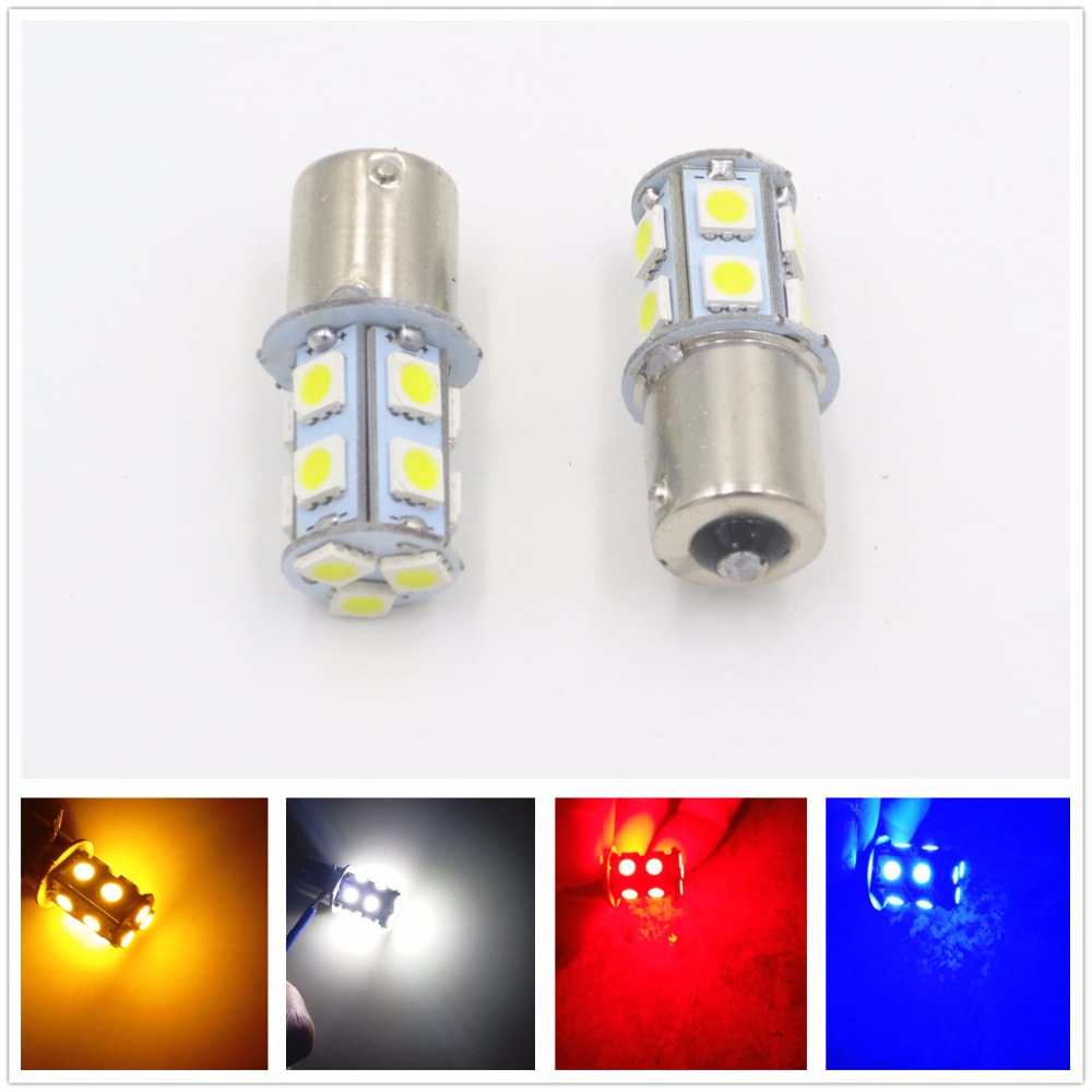 2pcs White Red 1156 BA15S <font><b>P21W</b></font> RV Camper Trailer 13 SMD <font><b>LED</b></font> 1141 1003 Interior Light Turn Signal <font><b>Bulb</b></font> Tail Lamp Amber 12V 24V image